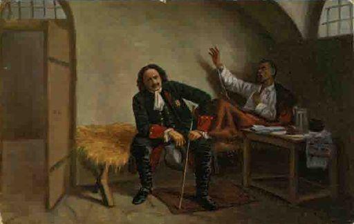 Император Петр I посещает в темнице Петропавловской крепости наказного гетмана Полуботка в 1724 году