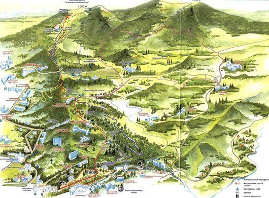 Кисловодск, карта курортного лечебного парка